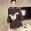 มินิเดรส ผ้าโพลีเอสเตอร์ผสม สีดำ ช่วงไหล่เป็นผ้าซีทรู แขนยาว แหวกแขนเสื้อด้านในขึ้นสูงเหมือนแบบ thumbnail 4