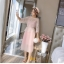 ชุดเดรสแฟชั่น set เสื้อและเดรสสีชมพูนู้ด ตัวเสื้อด้านนอกเป็นผ้าลูกไม้ถักโครเชต์ แขนยาวสี่ส่วน thumbnail 4
