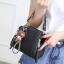 Pre-order กระเป๋ากระเป๋าถือสะพายข้างใบเล็ก แฟชั่นเกาหลี รหัส KO-146 สีดำ *แถมจี้หมีน้ำตาล thumbnail 3
