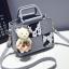 Pre-order กระเป๋าถือและสะพายข้างใบเล็ก เย็บตาราง แฟชั่นเกาหลี รหัส KO-312-1 สีเทาอ่อนลายวัวนมบ *แถมตุ๊กตาหมี thumbnail 1