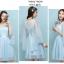 ชุดออกงานสุดสวย ตัวเสื้อผ้าลูกไม้สีฟ้า แต่งระบายแขนเสื้อด้วยผ้ามุ้งยาว thumbnail 7