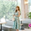 ชุดเดรสเกาหลี ผ้าซาตินเนื้อนิ่ม เงาสวย แขนกุด พื้นสีเขียว พิมพ์ลายดอกไม้โทนสีขาว เดรสเข้ารูปช่วงเอว thumbnail 3
