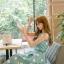 ชุดเดรสเกาหลี ผ้าซาตินเนื้อนิ่ม เงาสวย แขนกุด พื้นสีเขียว พิมพ์ลายดอกไม้โทนสีขาว เดรสเข้ารูปช่วงเอว thumbnail 14