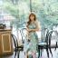 ชุดเดรสเกาหลี ผ้าซาตินเนื้อนิ่ม เงาสวย แขนกุด พื้นสีเขียว พิมพ์ลายดอกไม้โทนสีขาว เดรสเข้ารูปช่วงเอว thumbnail 10
