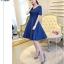 ชุดออกงานสุดหรู สีน้ำเงิน คอวี ผ้าไหมเนื้อดี เงาสวย แขนสั้น แต่งรอบคอเสื้อด้วยผ้าถักโครเชต์ thumbnail 2