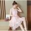 ชุดเดรสสวยๆ ผ้าไหมแก้ว organza ทอลายเส้นดอกไม้สีชมพูโอรส แขนกุด thumbnail 6