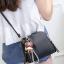 Pre-order กระเป๋ากระเป๋าถือสะพายข้างใบเล็ก แฟชั่นเกาหลี รหัส KO-146 สีดำ *แถมจี้หมีน้ำตาล thumbnail 2