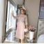 ชุดเดรสแฟชั่น set เสื้อและเดรสสีชมพูนู้ด ตัวเสื้อด้านนอกเป็นผ้าลูกไม้ถักโครเชต์ แขนยาวสี่ส่วน thumbnail 10