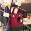 Pre-order กระเป๋าผู้หญิงถือและสะพายข้างแฟชั่นสไตล์เกาหลี เย็บลายเรขาคณิต รหัส KO-696 สีไวน์แดง *แถมปอม 3 สี thumbnail 1