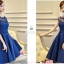 ชุดเดรสออกงาน สุดหรู ผ้าไหมเนื้อดีเงาสวย สีน้ำเงิน คอเสื้อและไหล่เป็นผ้าโปร่ง 2 ชั้น thumbnail 5