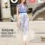 ชุดเดรสยาว ตัวชุดเป็นผ้าโปร่งสีขาวครีม 2 ชั้น ชั้นนอกปักเดินเส้นด้ายสีน้ำเงิน ซับในด้วยผ้าซาตินสีขาวทั้งตัว thumbnail 1