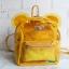พร้อมส่ง HB-5353-สีเหลือง กระเป๋าเป้พลาสติกใส-Mickey-design-พร้อมใบเล็กด้านใน thumbnail 1