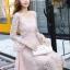 ชุดเดรสลูกไม้ สีชมพู ดีไซน์สวยมากๆ ครับไหล่และช่วงเอวคาดด้วยผ้าริบบิ้นไขว์กัน thumbnail 6
