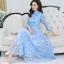 ชุดเดรสยาวคอจีน สีฟ้า ผ้าลูกไม้เนื้อดี เนื้อนิ่ม ตัวผ้านิ่มเย็น สวมใส่สบาย แขนยาวสี่ส่วน thumbnail 5