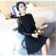 ชุดเดรสสีดำ เดรสผ้าคอตตอนผสม spandex สีดำ ผ้ายืดหยุ่นได้ดี ทิ้งตัวสวย แขนยาว thumbnail 6