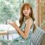 ชุดเดรสเกาหลี ผ้าซาตินเนื้อนิ่ม เงาสวย แขนกุด พื้นสีเขียว พิมพ์ลายดอกไม้โทนสีขาว เดรสเข้ารูปช่วงเอว thumbnail 13