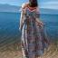 แมกซี่เดรสยาว ผ้าชีฟองเนื้อหนา พื้นสีฟ้า พิมพ์ลายใบไม้สีเขียว ดอกไม้สีขาว แดง thumbnail 1