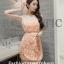 ชุดเดรสสวยๆ ตัวเสื้อผ้ารูปดอกกุหลาบสามมิติ ลายนูนออกมาจากตัวชุดสีโอรส thumbnail 1