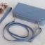 พร้อมส่ง รหัส NW-0126 สีฟ้าเข้ม กระเป๋าสตางค์ยาวพร้อมสายสะพายหนัง 2 ซิป Forever Young series thumbnail 1