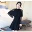 ชุดเดรสสีดำ เดรสผ้าคอตตอนผสม spandex สีดำ ผ้ายืดหยุ่นได้ดี ทิ้งตัวสวย แขนยาว thumbnail 3