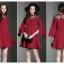 ชุดเดรสสั้น ผ้าโพลีเอสเตอร์ผสมสีแดงเข้ม ช่วงไหล่เป็นผ้าซีทรูปักลายดอกไม้ แขนยาว thumbnail 9