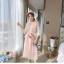 ชุดเดรสแฟชั่น set เสื้อและเดรสสีชมพูนู้ด ตัวเสื้อด้านนอกเป็นผ้าลูกไม้ถักโครเชต์ แขนยาวสี่ส่วน thumbnail 3
