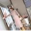 ชุดเดรสแฟชั่น set เสื้อและเดรสสีชมพูนู้ด ตัวเสื้อด้านนอกเป็นผ้าลูกไม้ถักโครเชต์ แขนยาวสี่ส่วน thumbnail 8