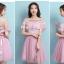 ชุดราตรีสั้นออกงาน สีชมพูสุดสวย ตัวเดรสเป็นเกาะอก ตัวเสื้อผ้าลูกไม้สีชมพูเข้ม ด้านหลังลำตัวตัวเป็นสม๊อก thumbnail 4