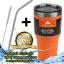 ozark trail แก้วเก็บเย็น + หลอดดูดสแตสเลส + แปรงทำความสะอาด สีส้ม