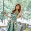 ชุดเดรสเกาหลี ผ้าซาตินเนื้อนิ่ม เงาสวย แขนกุด พื้นสีเขียว พิมพ์ลายดอกไม้โทนสีขาว เดรสเข้ารูปช่วงเอว thumbnail 1