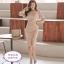 ชุดเดรสสวยๆ ผ้าโพลีเอสเตอร์ผสมสีครีมนู้ด แขนยาวสี่ส่วน ดีไซน์เก๋ thumbnail 6