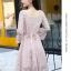 ชุดเดรสลูกไม้ สีชมพู ดีไซน์สวยมากๆ ครับไหล่และช่วงเอวคาดด้วยผ้าริบบิ้นไขว์กัน thumbnail 5