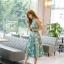 ชุดเดรสเกาหลี ผ้าซาตินเนื้อนิ่ม เงาสวย แขนกุด พื้นสีเขียว พิมพ์ลายดอกไม้โทนสีขาว เดรสเข้ารูปช่วงเอว thumbnail 4
