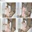 ชุดเดรสแฟชั่น set เสื้อและเดรสสีชมพูนู้ด ตัวเสื้อด้านนอกเป็นผ้าลูกไม้ถักโครเชต์ แขนยาวสี่ส่วน thumbnail 12