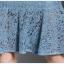 ชุดเดรสลูกไม้ ผ้าเนื้อดีสีฟ้าเข้ม แขนยาวสี่ส่วน เย็บแต่งที่หน้าอก และไหล่ตามแบบ thumbnail 13