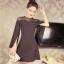 มินิเดรส ผ้าโพลีเอสเตอร์ผสม สีดำ ช่วงไหล่เป็นผ้าซีทรู แขนยาว แหวกแขนเสื้อด้านในขึ้นสูงเหมือนแบบ thumbnail 2