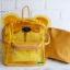 พร้อมส่ง HB-5353-สีเหลือง กระเป๋าเป้พลาสติกใส-Mickey-design-พร้อมใบเล็กด้านใน thumbnail 2