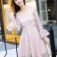 ชุดเดรสลูกไม้ สีชมพู ดีไซน์สวยมากๆ ครับไหล่และช่วงเอวคาดด้วยผ้าริบบิ้นไขว์กัน thumbnail 3