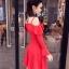 ชุดเดรสสีแดง ผ้าคอตตอนผสมspandex เนื้อนิ่มสีแดง สายเดี่ยว เปิดไหล่ แขนยาว ปลายแขนเสื้อทรงระบาย thumbnail 6