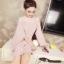 มินิเดรส ผ้าโพลีเอสเตอร์ผสม สีชมพูรากบัว (ชมพูตุ่น) ช่วงไหล่เป็นผ้าซีทรู แขนยาว thumbnail 3