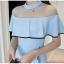 ชุดเดรสสั้น ผ้าโพลีเอสเตอร์ผสมสีฟ้า ดีไซน์เก๋ ช่วงไหล่เป็นผ้าโปร่งซีทรู thumbnail 10