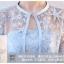 ชุดออกงานสีฟ้า สุดหรู set เสื้อคลุมแขนยาวสามส่วน และเดรสเกาะอก เสื้อคลุมผ้าลูกไม้ปักรูปดาว thumbnail 4