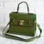 พร้อมส่ง HB-4245 สีเขียว กระเป๋าสะพายถือและสะพายข้างนำเข้า แต่งอะไหล่แม่กุญแจ thumbnail 3