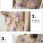 ชุดเดรสผ้าไหมแก้ว organza ชนิดเนื้อย่น เดินเส้นผ้าเล็กๆ สีม่วงเป็นดอกไม้ และสีเขียวเป็นใบไม้ thumbnail 9