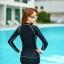 ชุดว่ายน้ำทูพีช แบบสปอร์ตสีดำ มีซิบกลางอก แขนเสื้อสกรีนตัวหนังสือ มีบาร์ด้านใน thumbnail 4