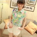 พร้อมส่ง-เสื้อแฟชั่นชีฟอง ลายดอก สีเขียว น่ารักๆ