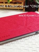 เคสหนัง Samsung note 8 ยี่ห้อ Onjess (Smart cover) สีแดงวิ้ง ปกหลังสีขาวขุ่น กรอบใส