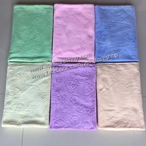 ขายส่ง ผ้าเช็ดตัวนาโน สีพื้นอัดลาย-สีหวาน (แบบหนา) ขนาด 70*140 cm ส่ง 60 บาท