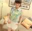 พร้อมส่ง-เสื้อแฟชั่นชีฟอง ลายดอก สีเขียว น่ารักๆ thumbnail 1