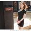 พร้อมส่ง-เดรสแฟชั่น โชว์ไหล่ ติดโบว์ที่ไหล่ ผ้าคอตตอน สีดำ น่ารักๆ thumbnail 2